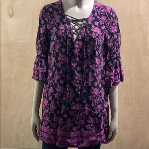 Forever 21 Lace Up V Neck Blk/Purp Floral Blouse S